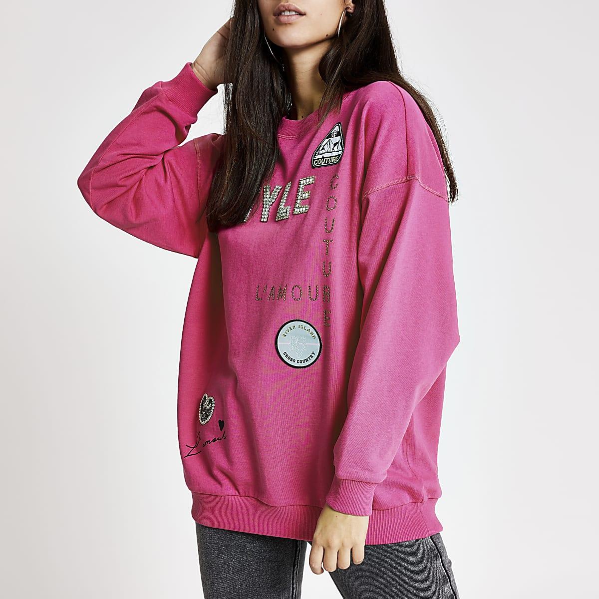 Pink '5TYLE' embellished sweatshirt