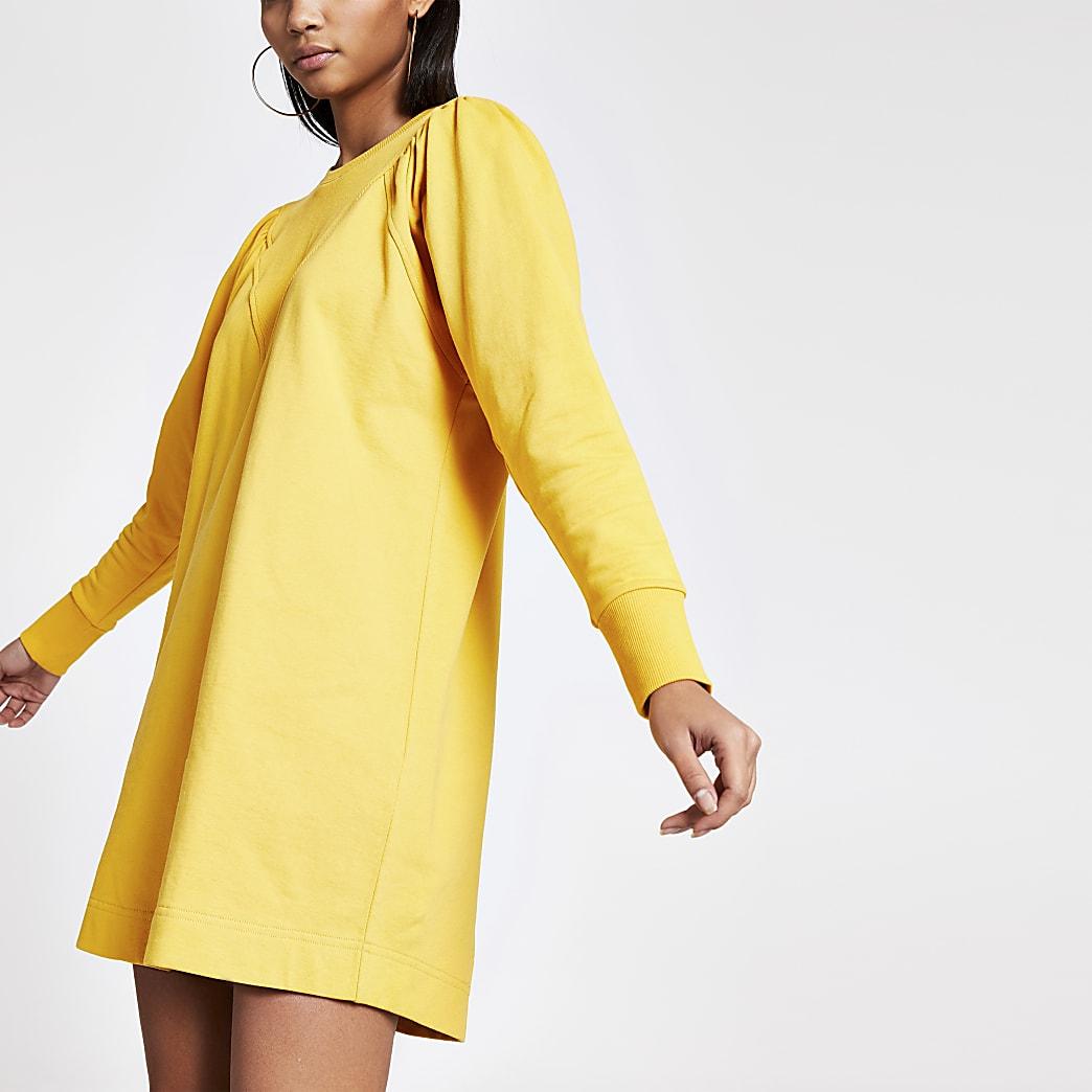 Yellow long puff sleeve sweatshirt mini dress