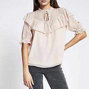 Pink ruffle short sleeve sheer blouse