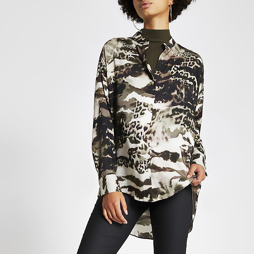 Kaki overhemd zonder kraag met print en lange mouwen