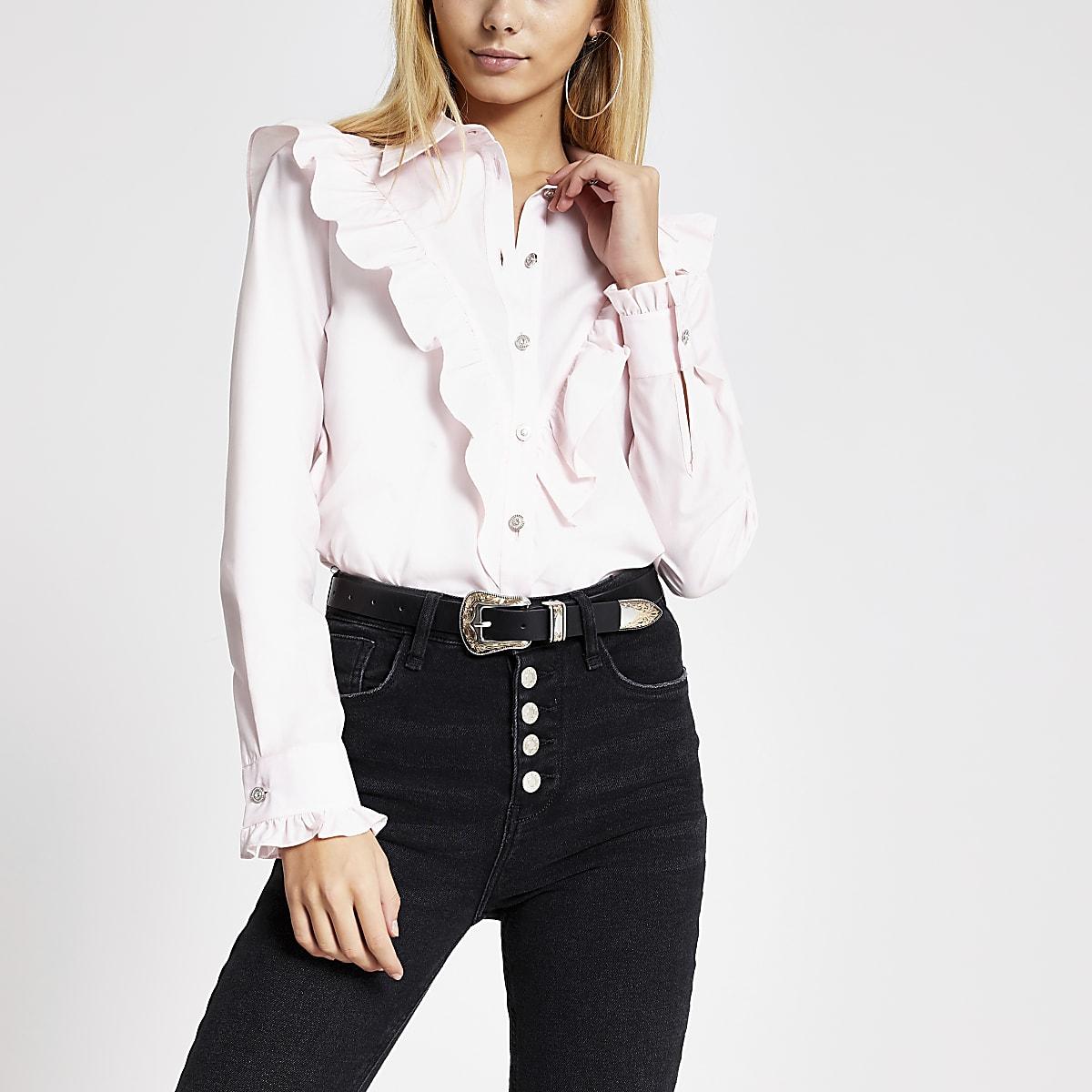 Roze overhemd met lange mouwen en ruches voor