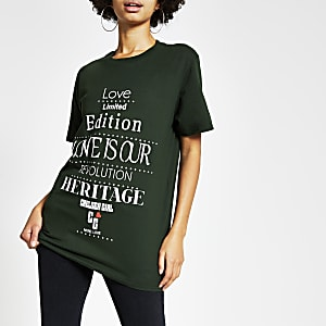 "Grünes Easy Fit T-Shirt ""Chelsea Girl"" mit Print"