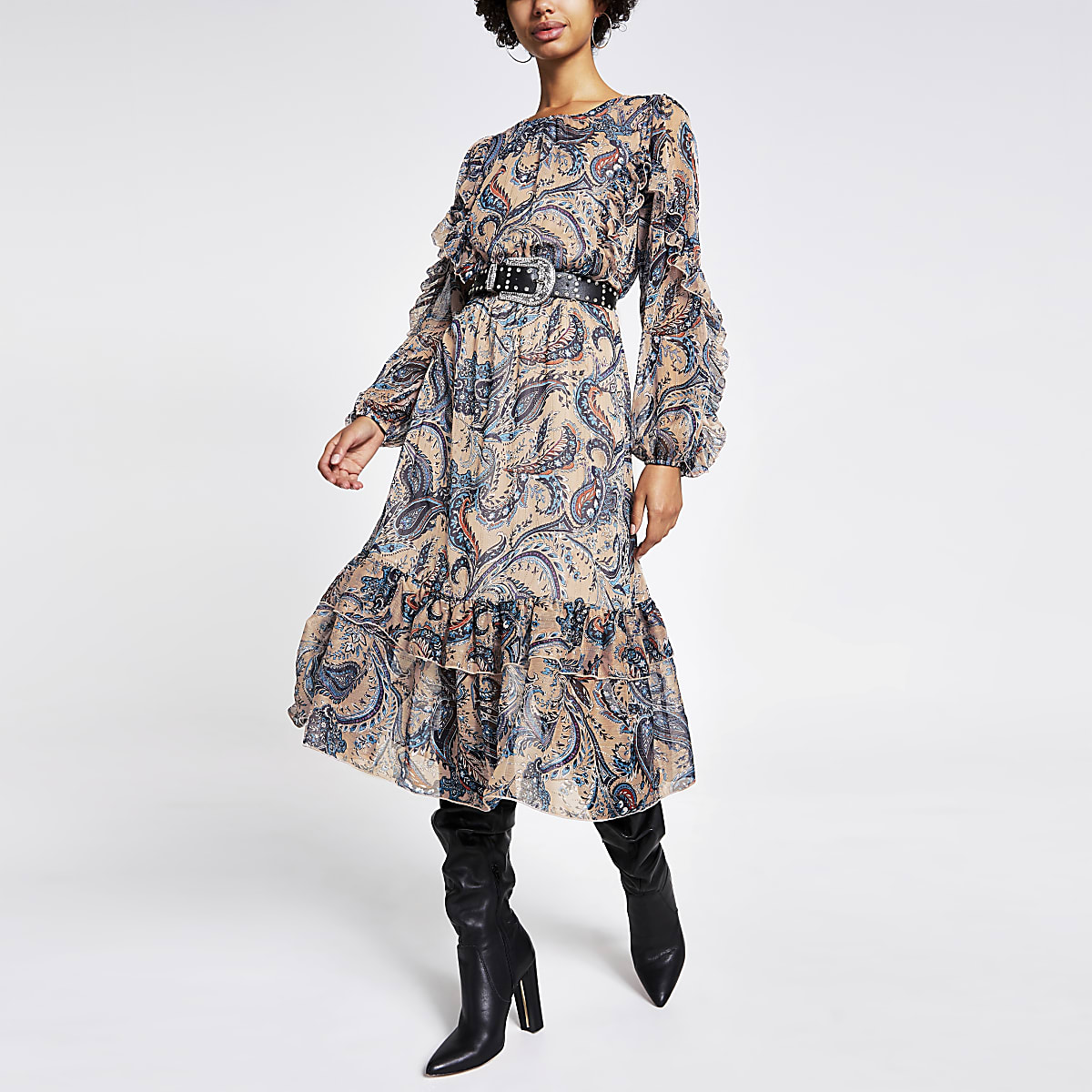 Blue paisley tie belted ruffle midi dress