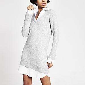 Robe pull grise en mailleà manches longues effet superposition chemise