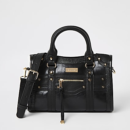 Black studded cross body tote bag