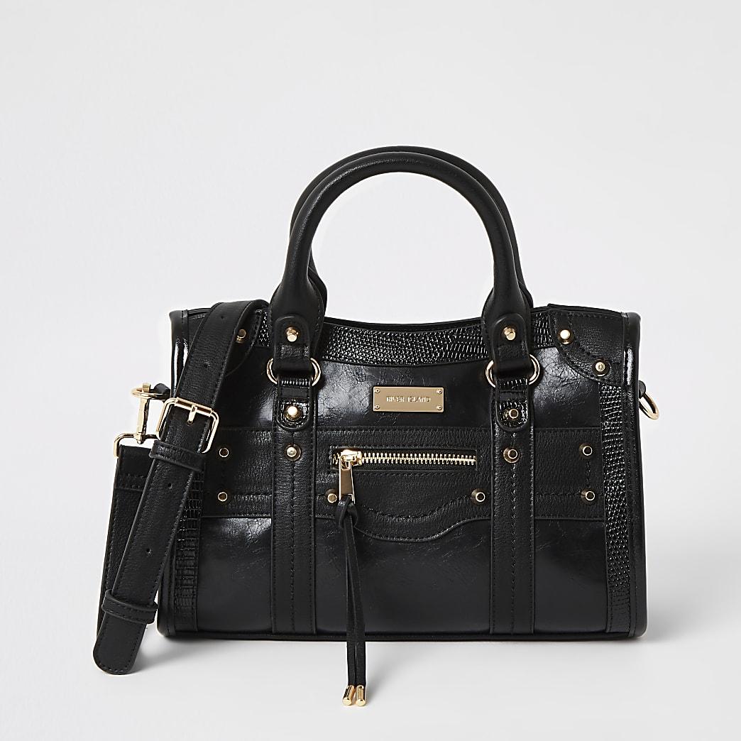 Black studded cross body tote bag