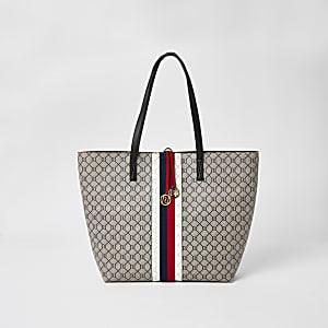 Braune Shopper-Tasche mit RI-Monogramm