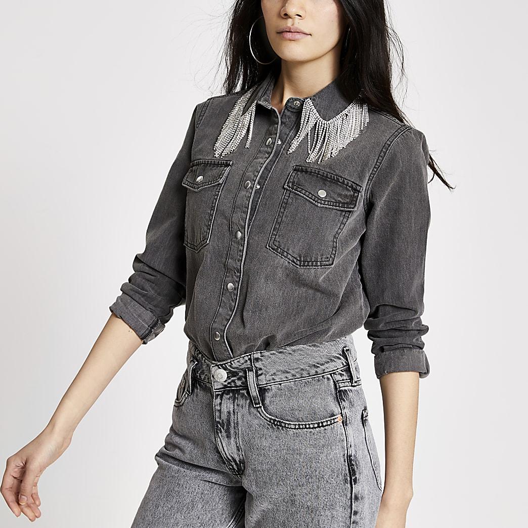 Grey diamante fringe denim shirt