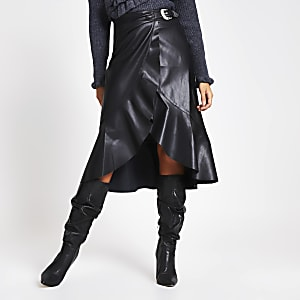 Black faux leather belted wrap midi skirt