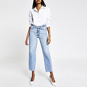 Blair - Lichtblauwe high rise rechte jeans