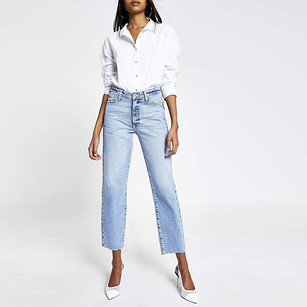 Light blue Blair high rise straight jeans