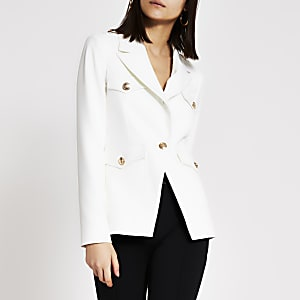 Witte single-breasted blazer met legerlook