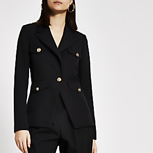 Zwarte single-breasted blazer met legerlook