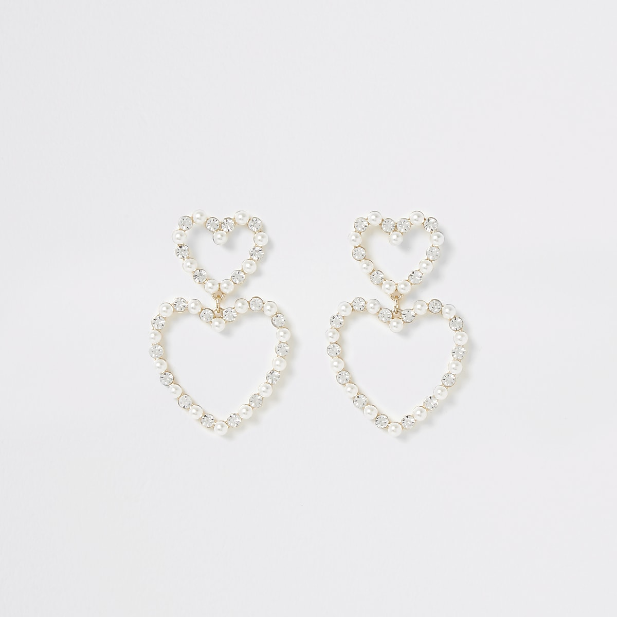 Gold colour embellished heart drop earrings