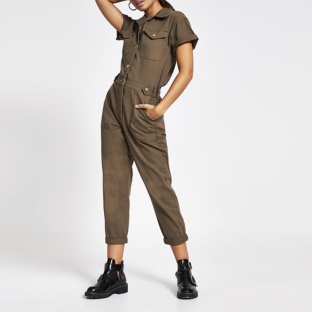 Khaki twill utility short sleeve jumpsuit