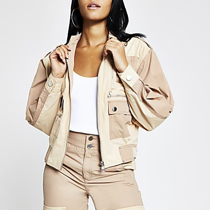 Beige colour blocked twill biker jacket