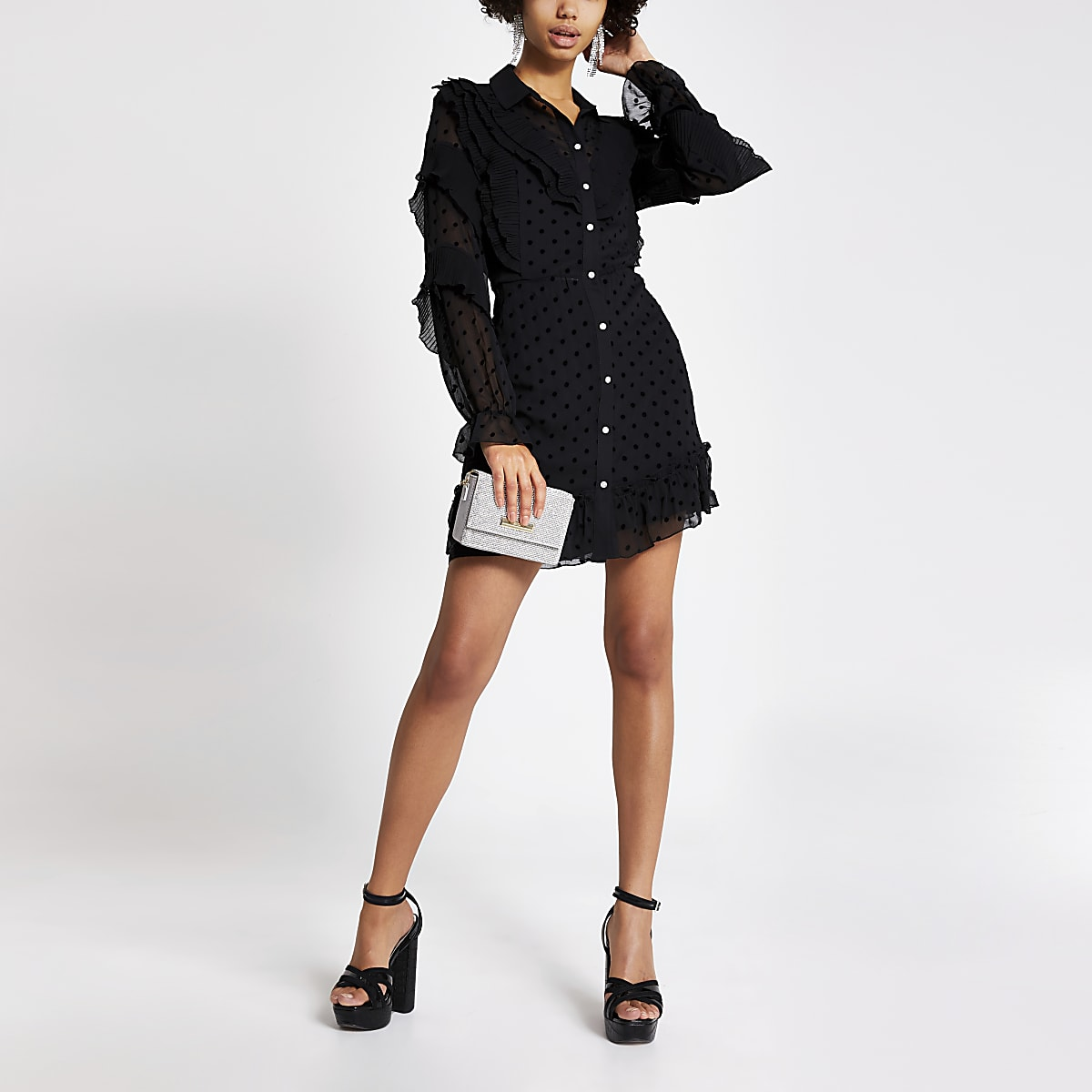 Black polka dot mesh ruffle frill shirt dress