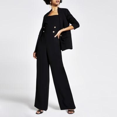 Black button front wide leg jumpsuit