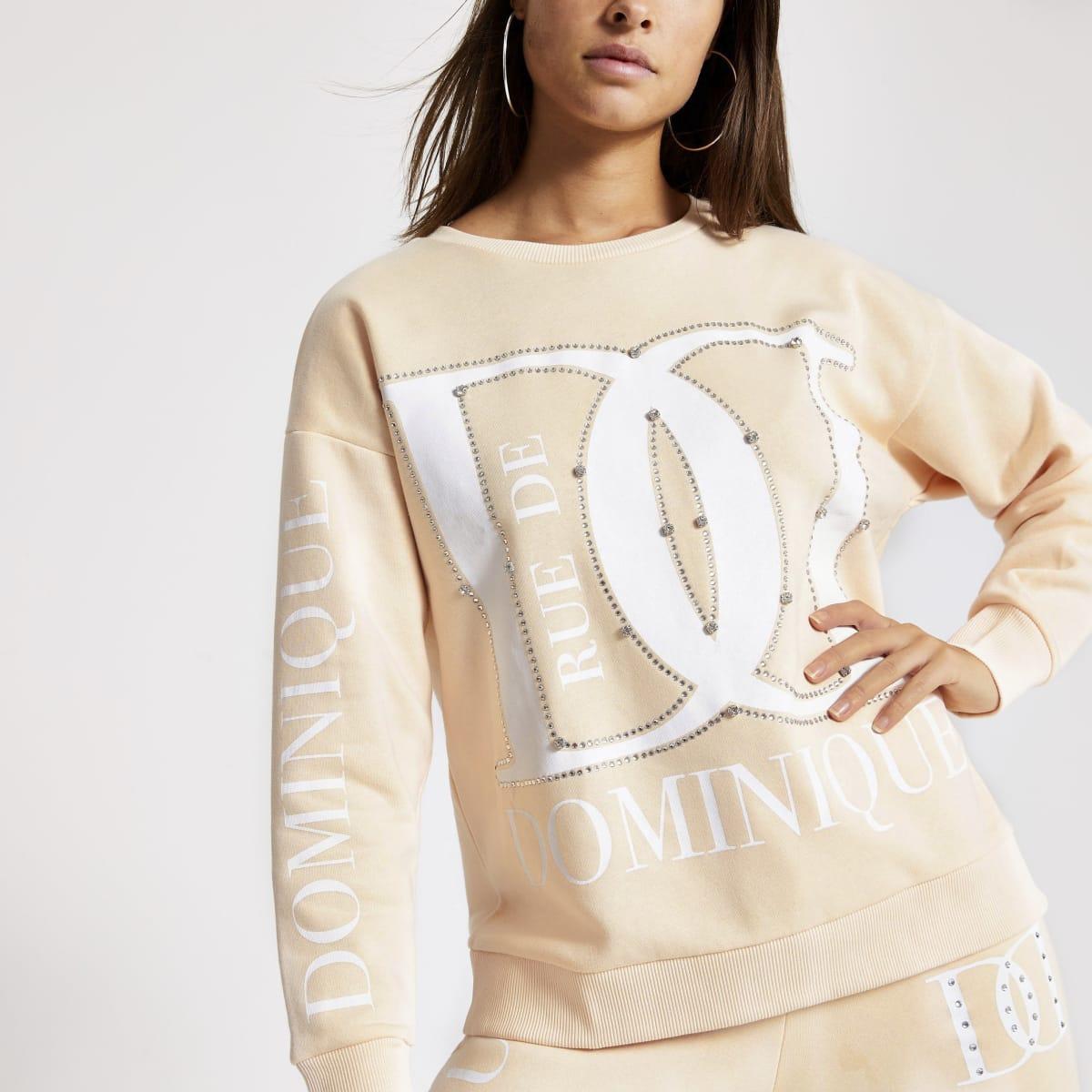 Beige printed diamante loose fit sweatshirt