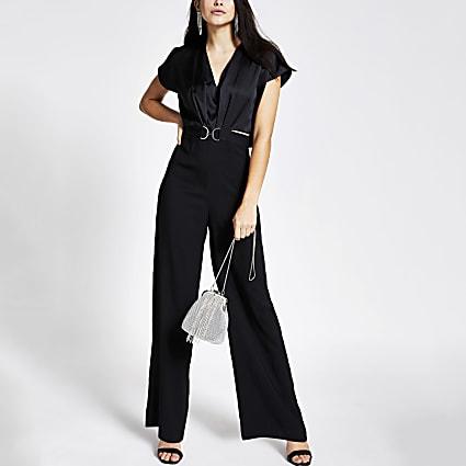 Black snaffle front cape sleeve jumpsuit