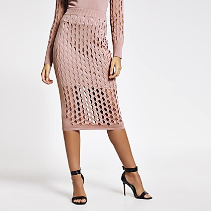 Pink mesh fitted midi skirt