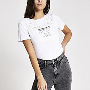 T-shirt boyfriend blanc avec imprimé et strass