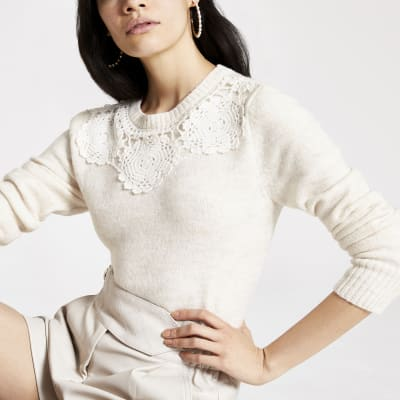 Beige lace trim long sleeve knitted jumper