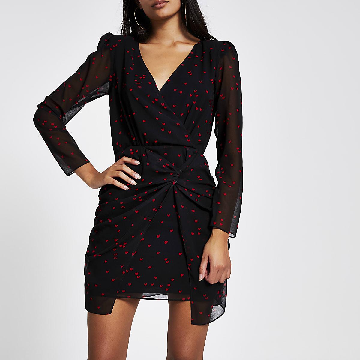 Black heart long sleeve sheer mini dress