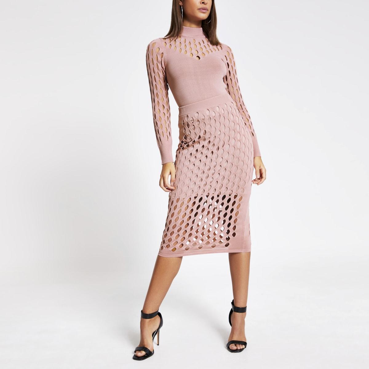 Roze aansluitende mesh top met lange mouwen