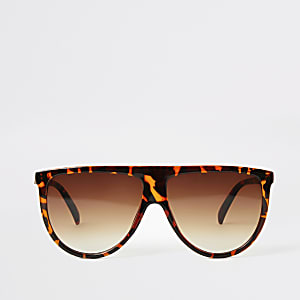 Braune Visor-Sonnenbrille mit Schildpatt-Print