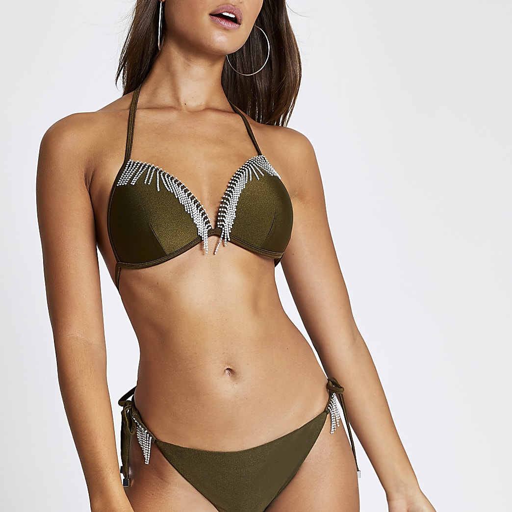 Khaki diamante tassel triangle bikini top