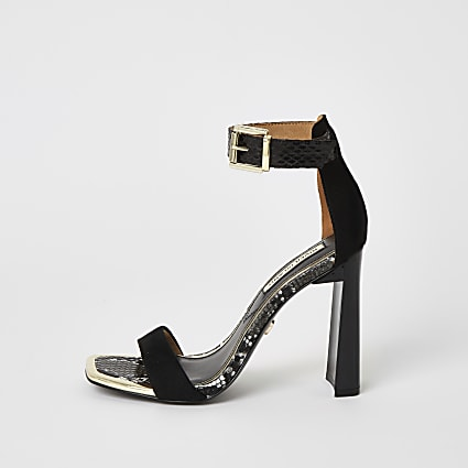 Black barely there square toe heeled sandals