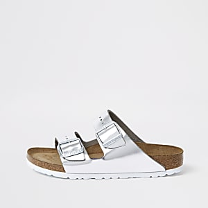 Birkenstock silver Arizona sandals