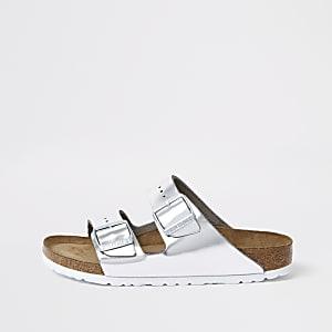 Birkenstock- Zilverkleurige Arizona sandalen