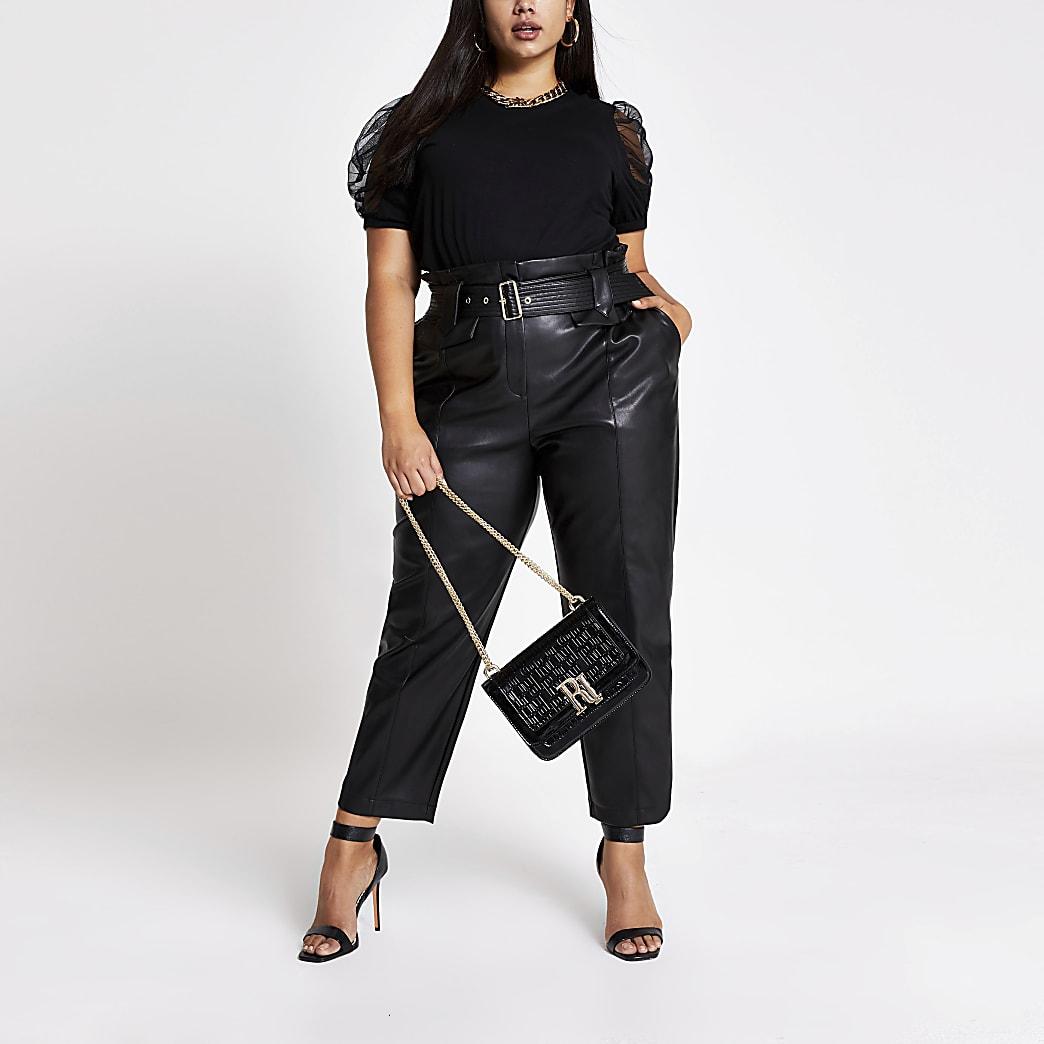 Plus black short mesh puff sleeve T-shirt