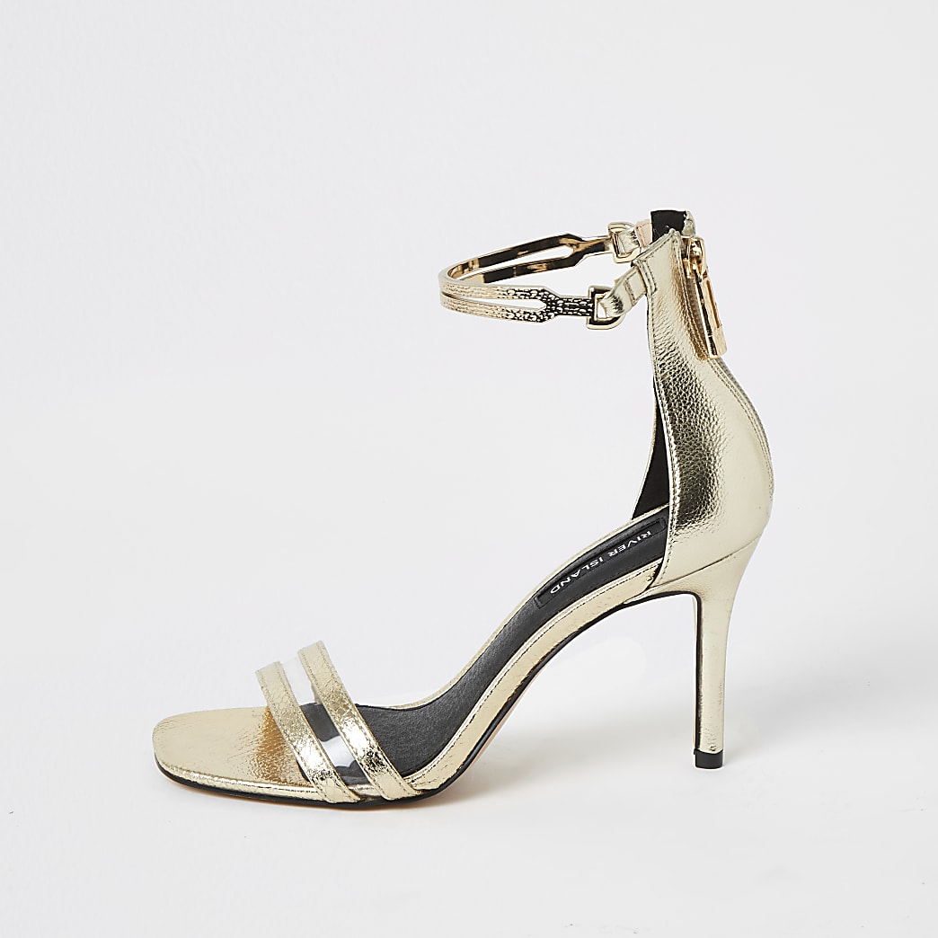 Gold high heel ankle cuff sandal