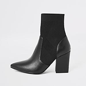 Zwarte gebreide laarzen met elastische schacht en hak