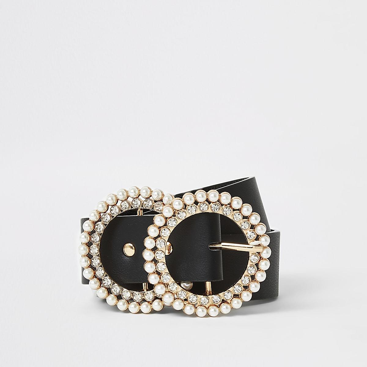 Zwarte riem met twee ringen met parels en siersteentjes