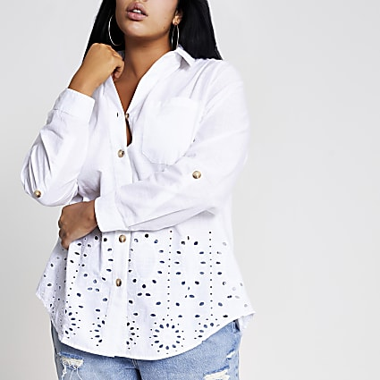 Plus white broderie trim button front shirt