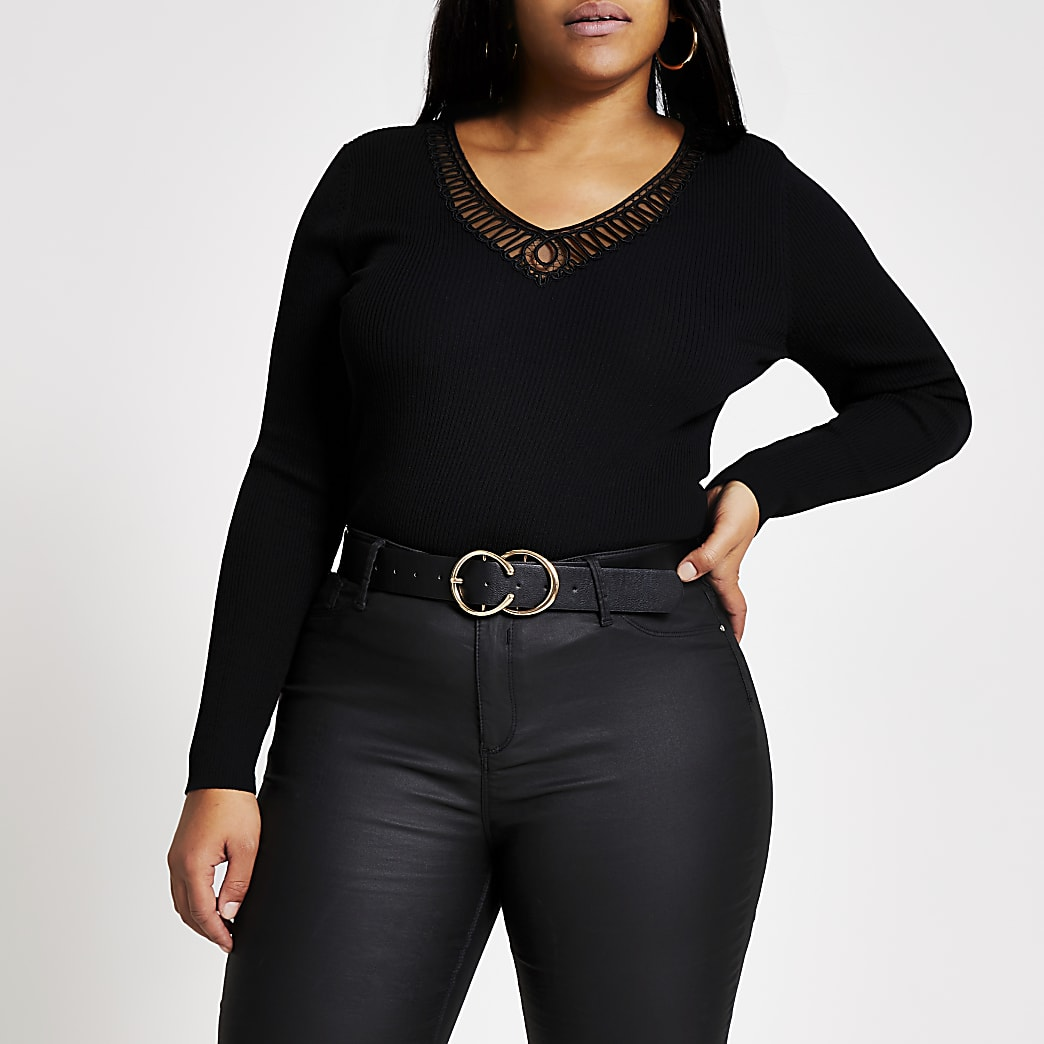 Plus black embroidered V neck top