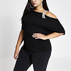 RI Plus - Zwarte top met blote schouder en bandje met siersteentjes