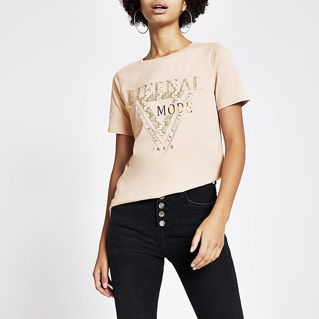 Roze T-shirt met 'Eternal'-kantborduursel