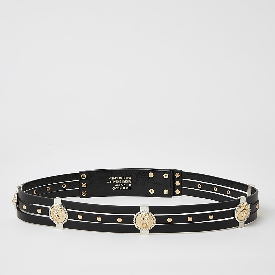 Black lion head embellished belt