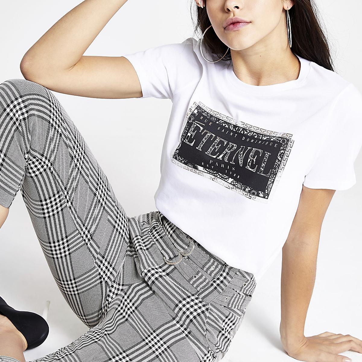Wit T-shirt met lange mouwen en 'Eternal'-print