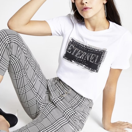 White 'Eternal' printed short sleeve T-shirt