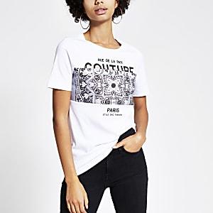 T-shirt blanc imprimé bandana à manches courtes