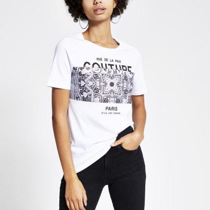 White bandana printed short sleeve T-shirt