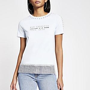 Blaues T-Shirt mit Print ud strassbesetzten Zierrändern