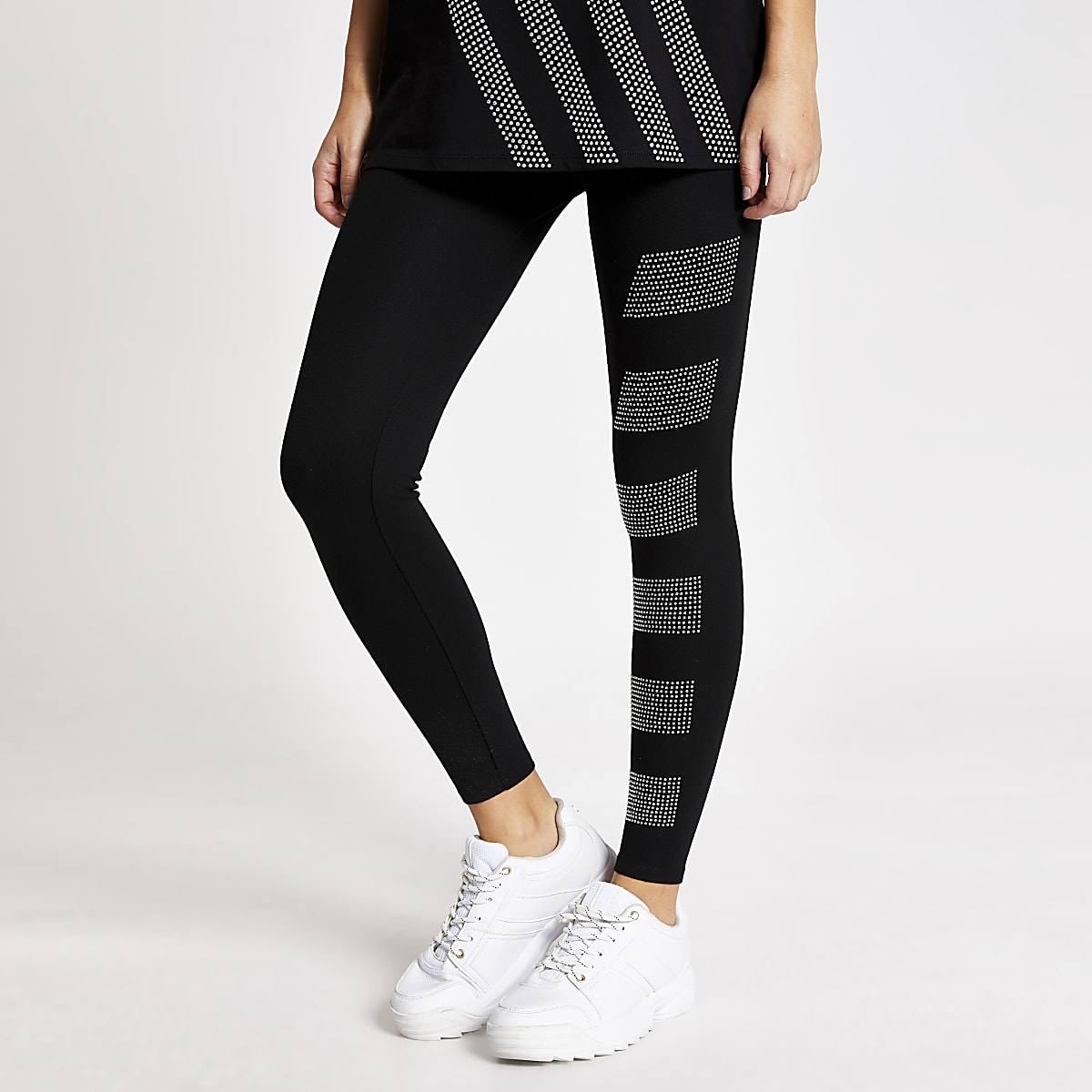 Black diamante blocked leggings