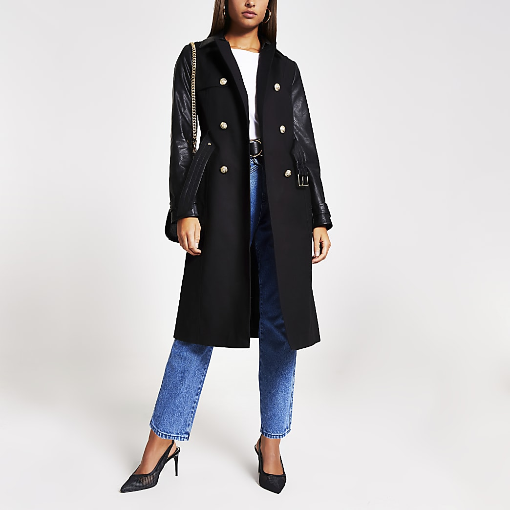 Black faux leather blocked trench coat